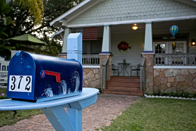 anchor inn bnb mailbox and fish art