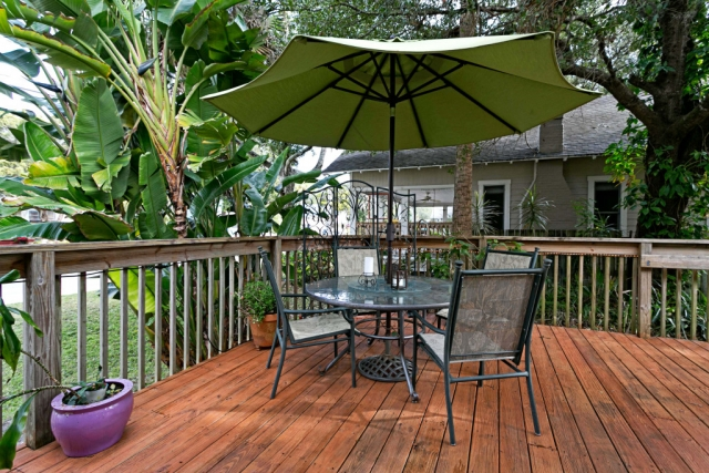 anchor inn bnb patio umbrella and glass table