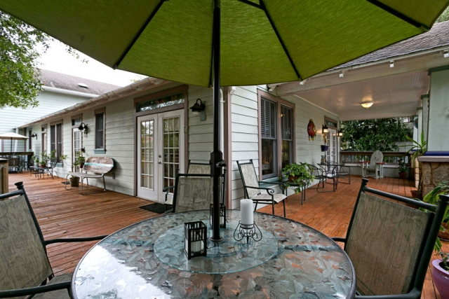 anchor inn bnb patio umbrella and glass table fisheye